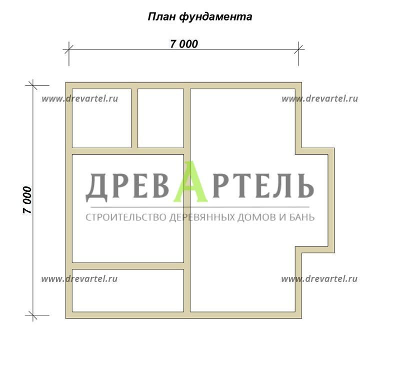План ленточного фундамента - Дом из бруса 7х8 – цена