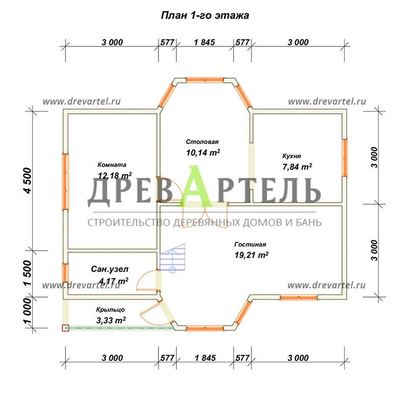 План 1-го этажа - Дом из бруса 6х9 с двумя эркерами