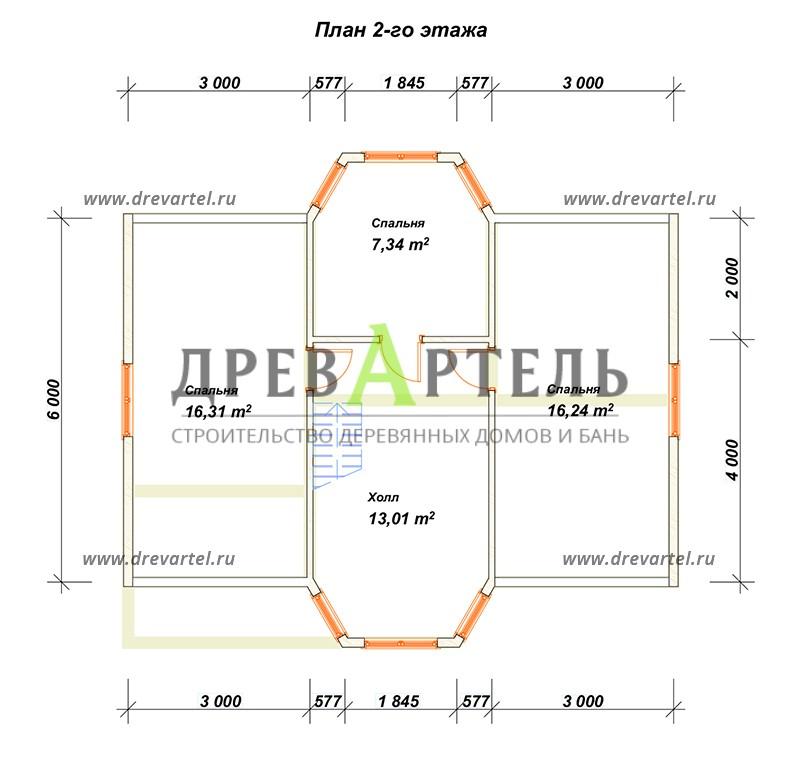 План 2-го этажа - Дом из бруса 6х9 с двумя эркерами