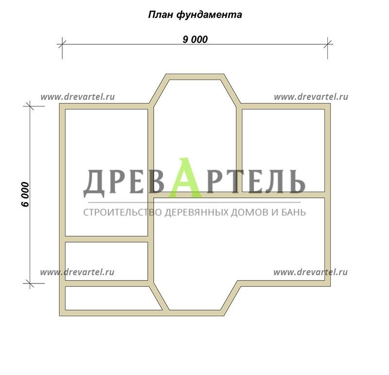 План ленточного фундамента - Дом из бруса 6х9 с двумя эркерами