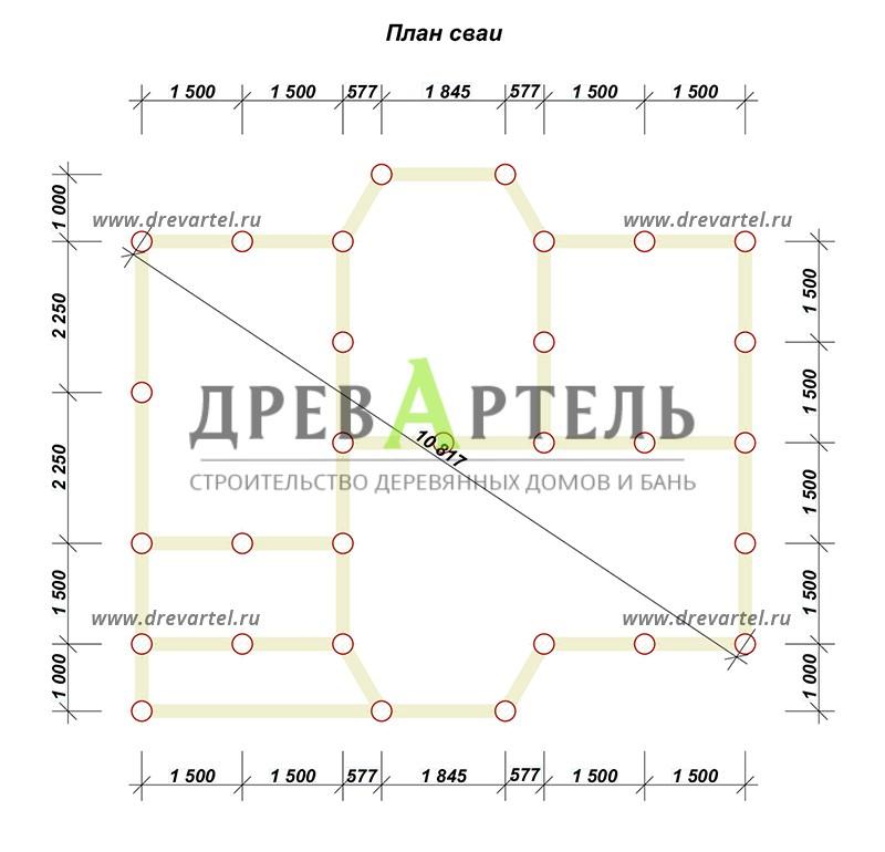 План свайного фундамента - Дом из бруса 6х9 с двумя эркерами