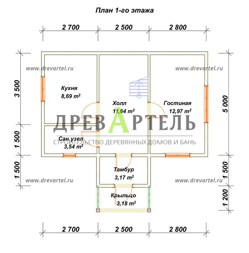 План 1-го этажа - Дачный дом из бруса 5х8