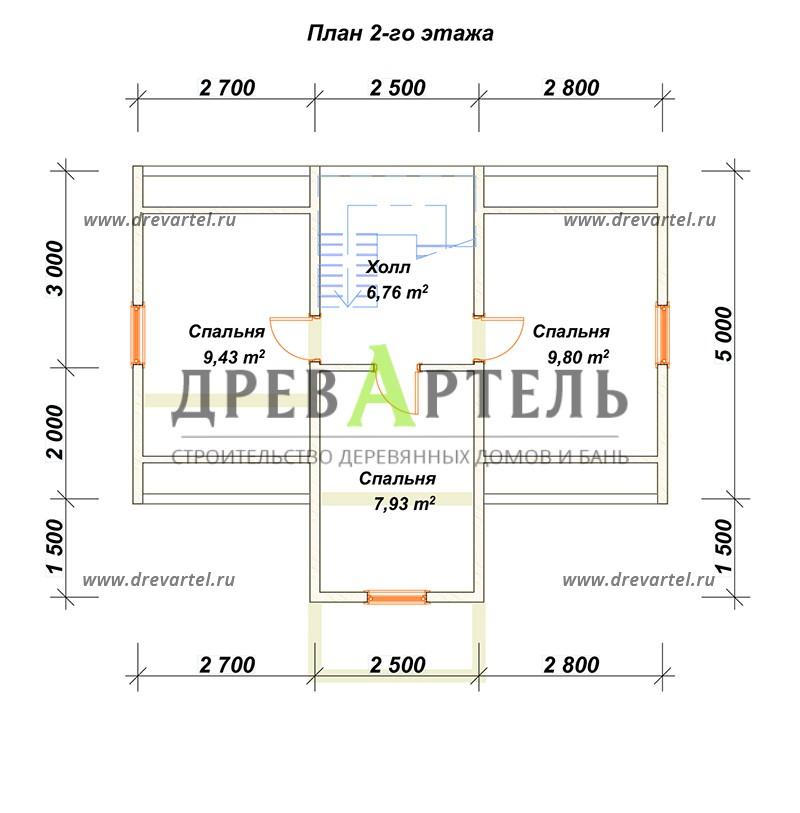 План 2-го этажа - Дачный дом из бруса 5х8