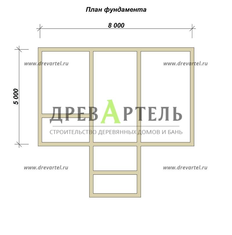 План ленточного фундамента - Дачный дом из бруса 5х8