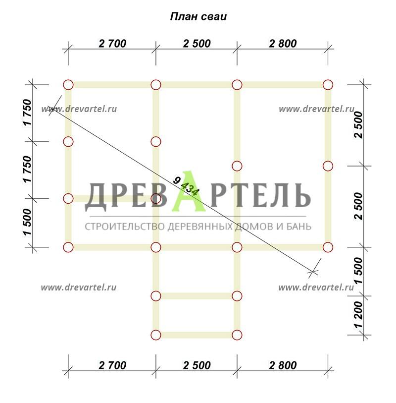 План свайного фундамента - Дачный дом из бруса 5х8