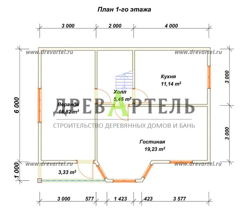 План 1-го этажа - Деревянный дом из бруса 6х9 с мансардой