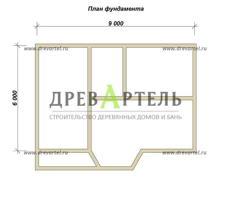План ленточного фундамента - Деревянный дом из бруса 6х9 с мансардой
