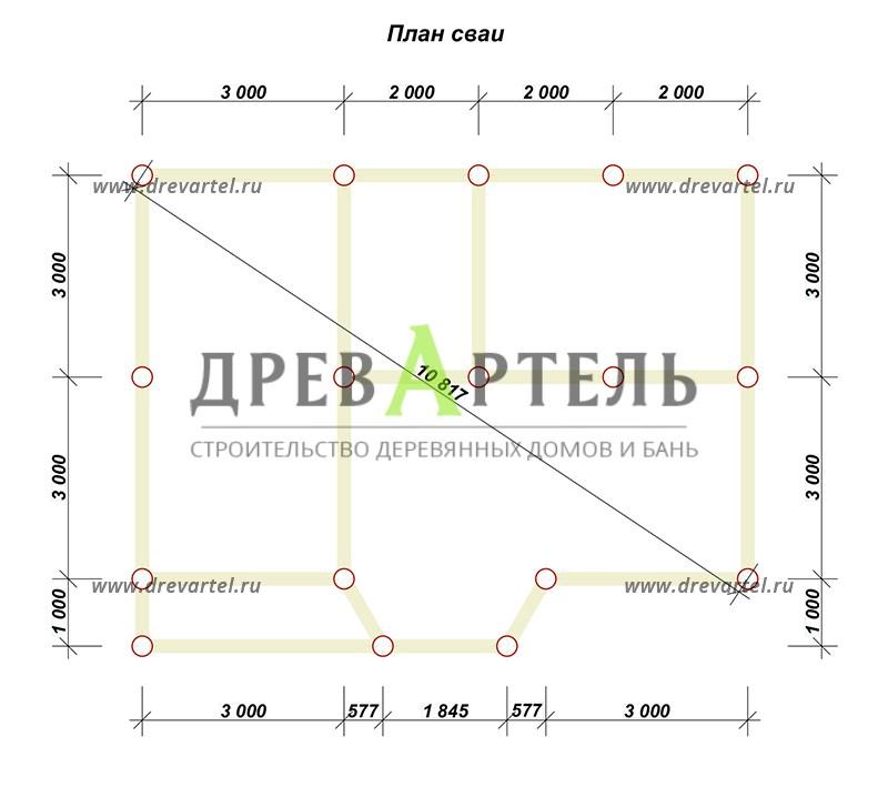 План свайного фундамента - Деревянный дом из бруса 6х9 с мансардой
