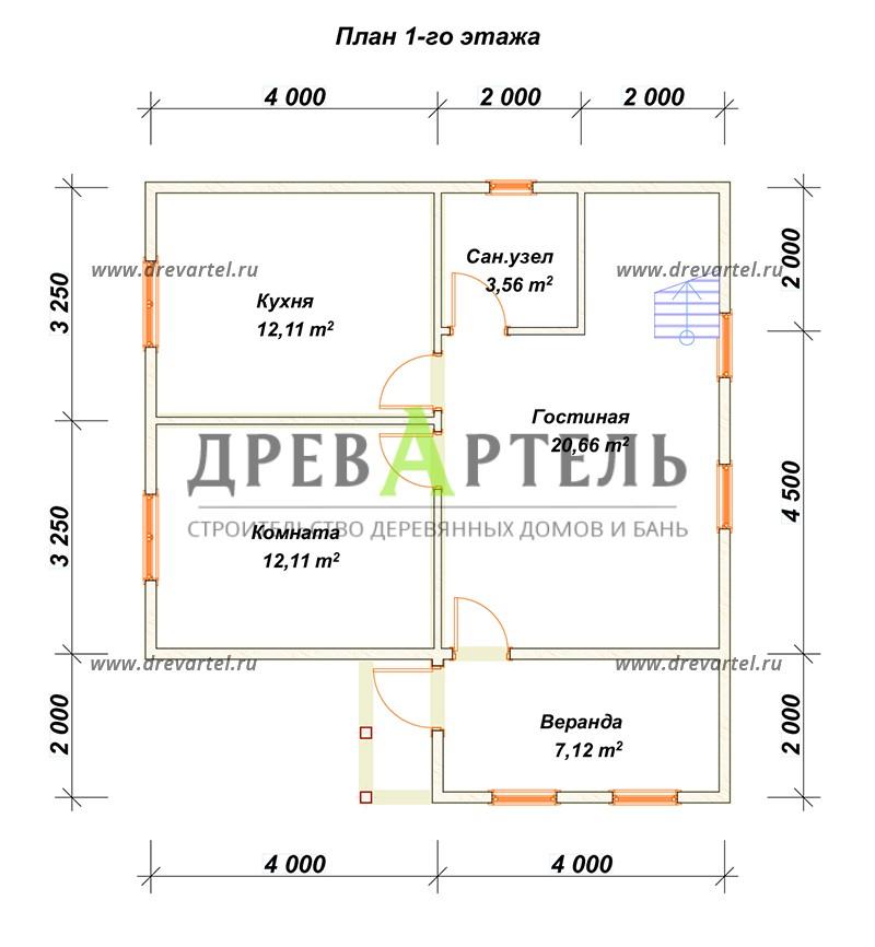План 1-го этажа - Дом из бруса 6х8 с верандой