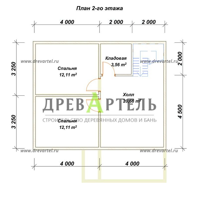 План 2-го этажа - Дом из бруса 6х8 с верандой