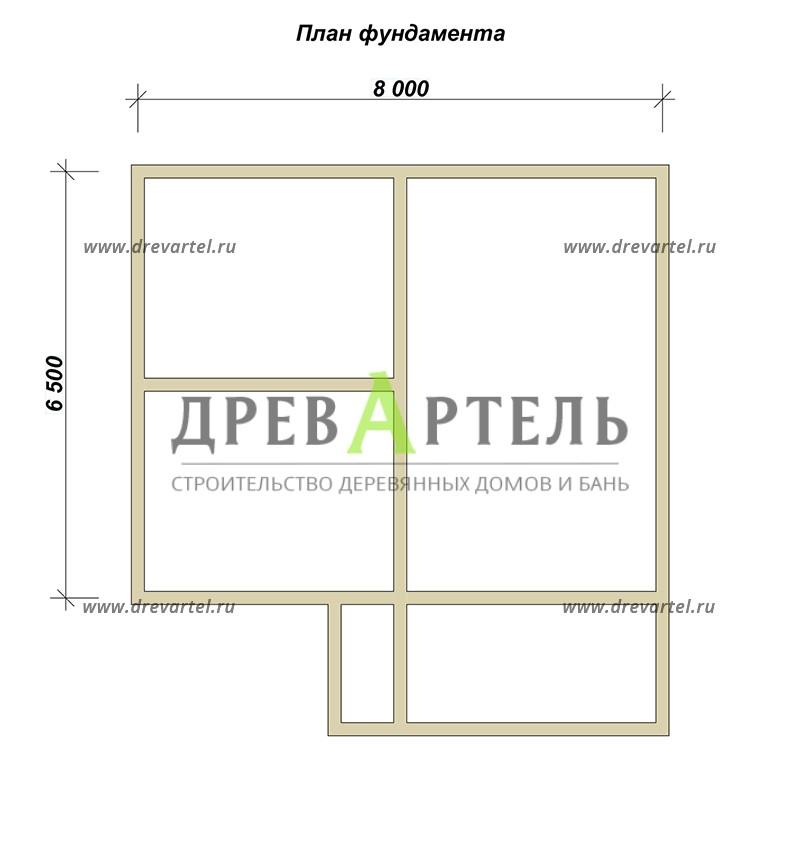 План ленточного фундамента - Дом из бруса 6х8 с верандой