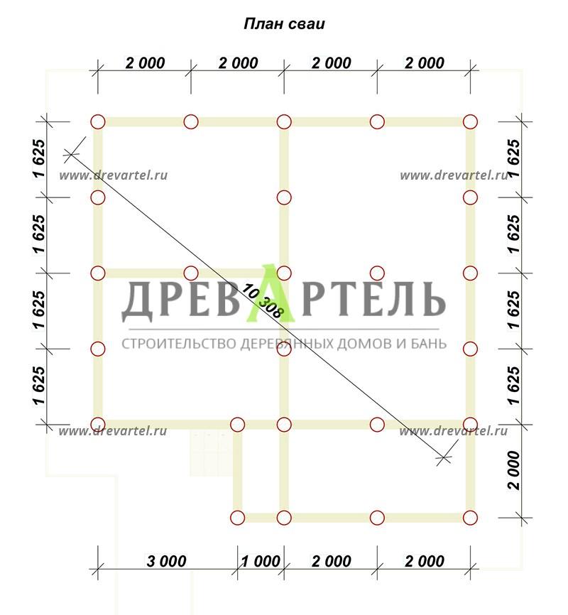 План свайного фундамента - Дом из бруса 6х8 с верандой