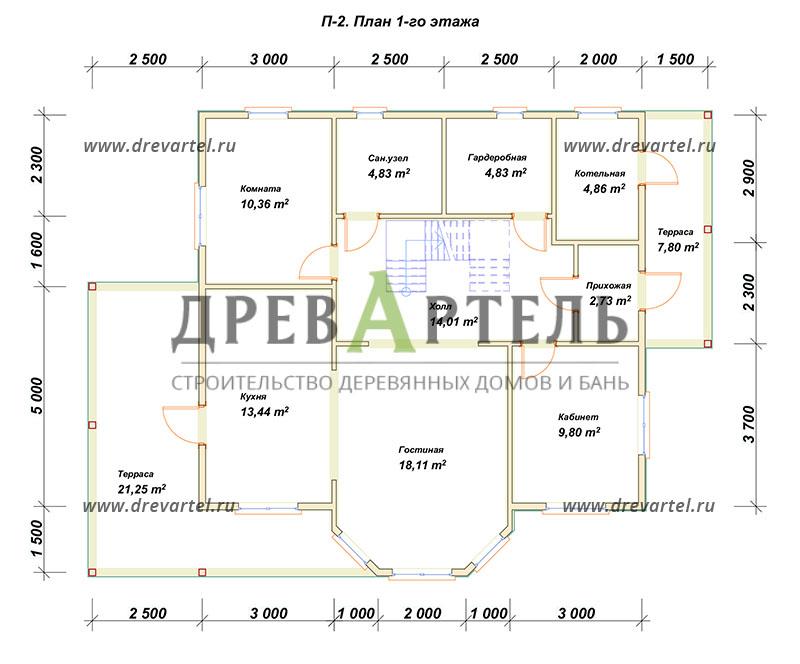 План 1-го этажа - Дом из бревна 9 на 10