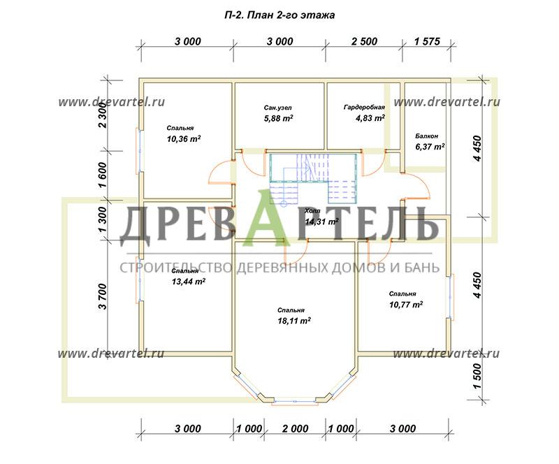 План 2-го этажа - Дом из бревна 9 на 10