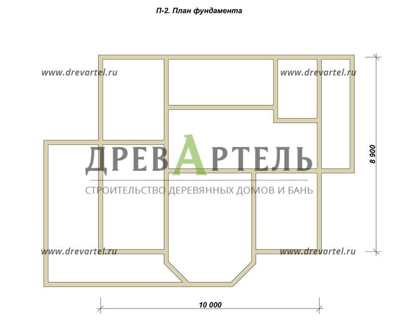 План ленточного фундамента - Дом из бревна 9 на 10