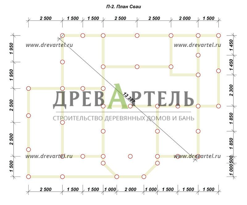 План свайного фундамента - Дом из бревна 9 на 10
