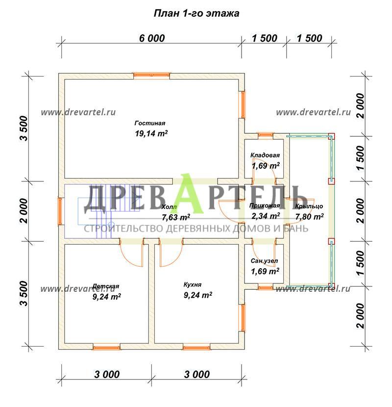 План 1-го этажа - Одноэтажный дом с мансардой 9 на 9