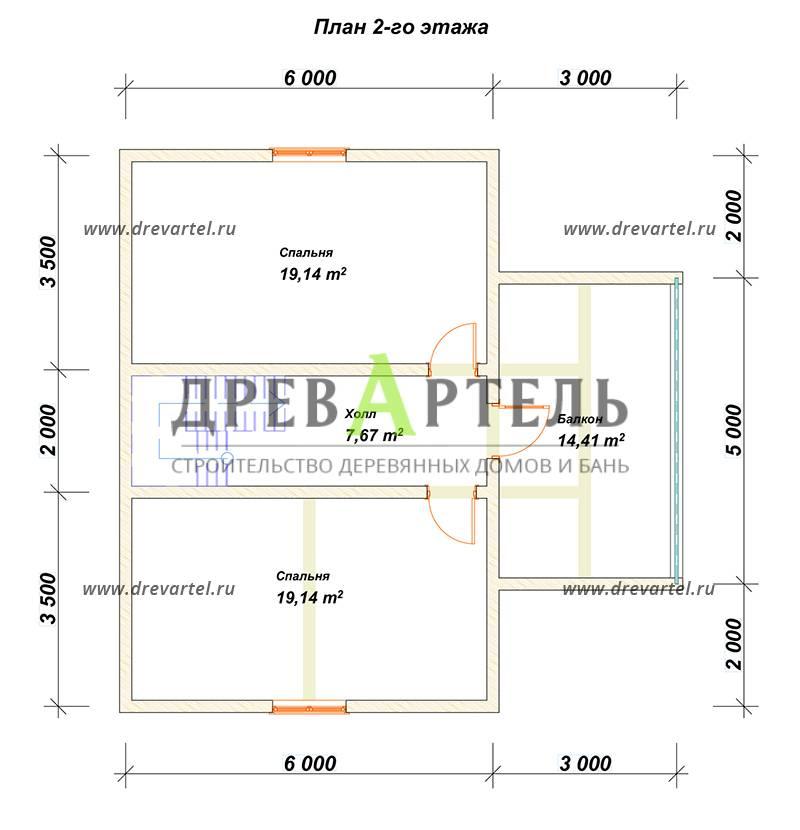 План 2-го этажа - Одноэтажный дом с мансардой 9 на 9