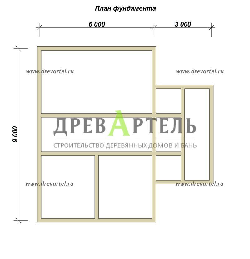 План ленточного фундамента - Одноэтажный дом с мансардой 9 на 9