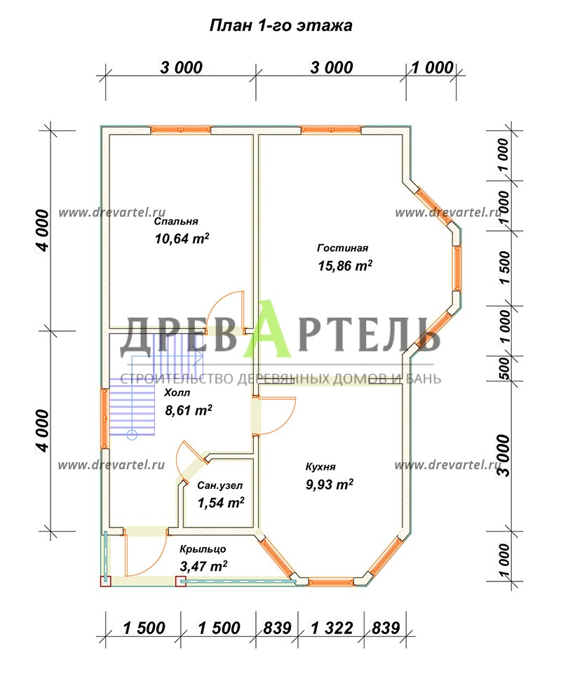 План 1-го этажа - Полутораэтажный дачный дом 6х8