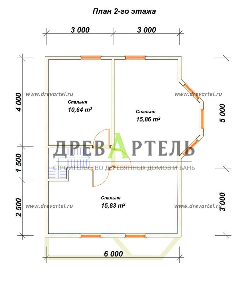 План 2-го этажа - Полутораэтажный дачный дом 6х8