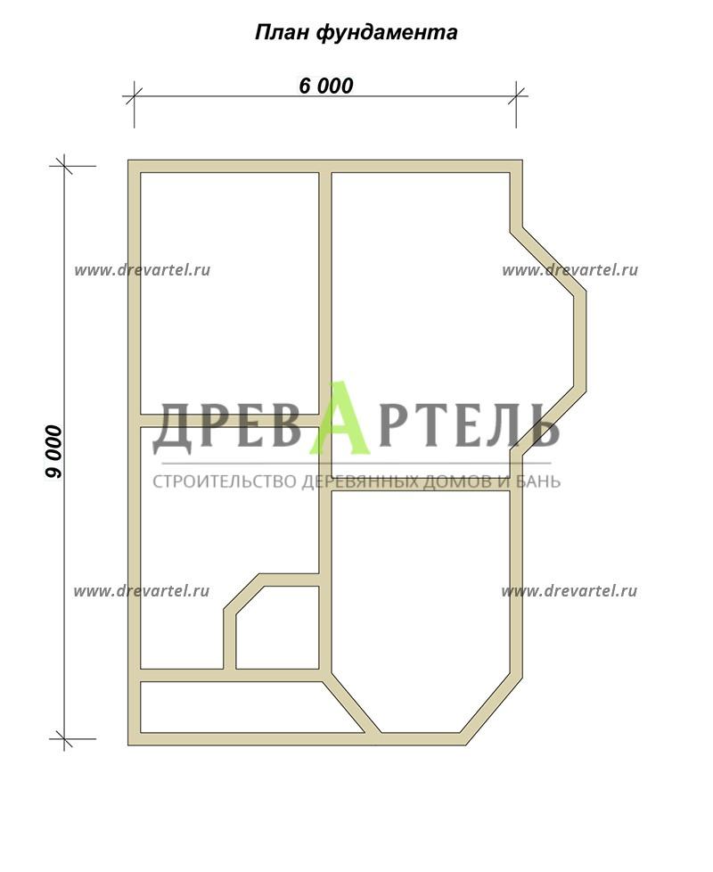 План ленточного фундамента - Полутораэтажный дачный дом 6х8