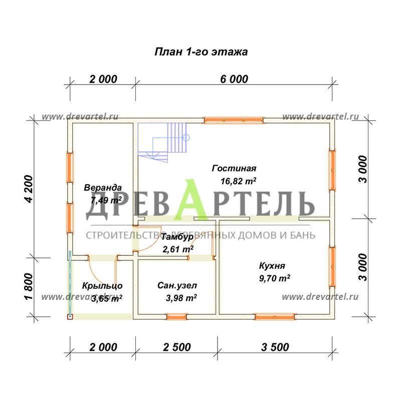 План 1-го этажа - Дом из бруса 6 на 8 с мансардой