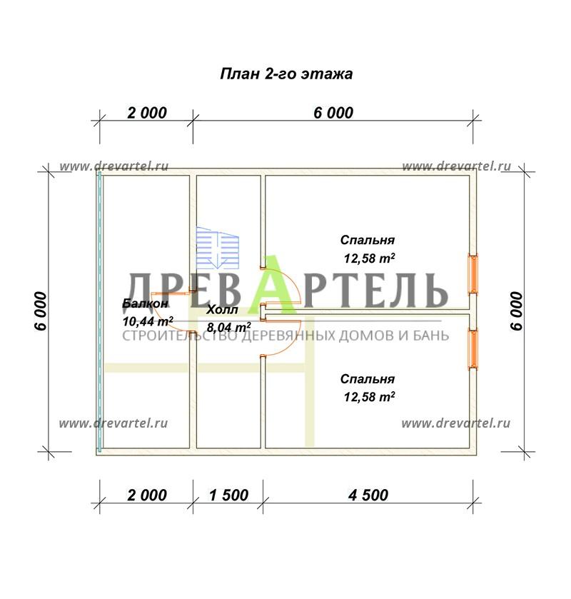 План 2-го этажа - Дом из бруса 6 на 8 с мансардой