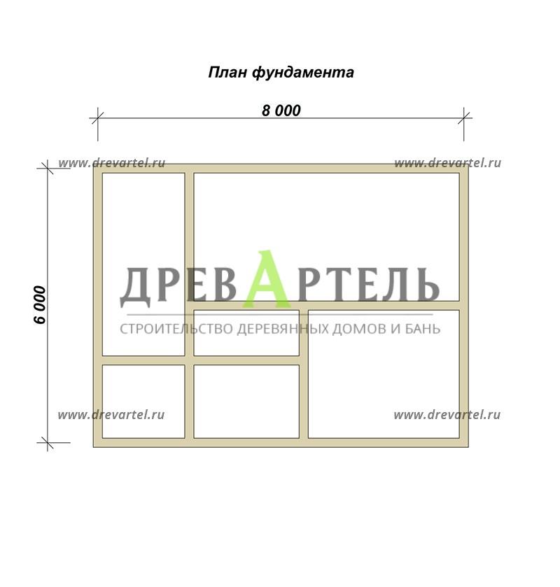 План ленточного фундамента - Дом из бруса 6 на 8 с мансардой