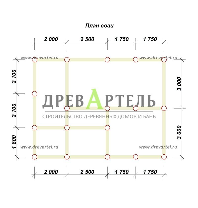 План свайного фундамента - Дом из бруса 6 на 8 с мансардой