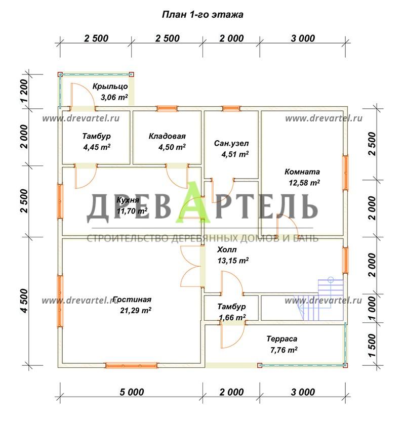 План 1-го этажа - Полутораэтажный дом из бруса 9х10