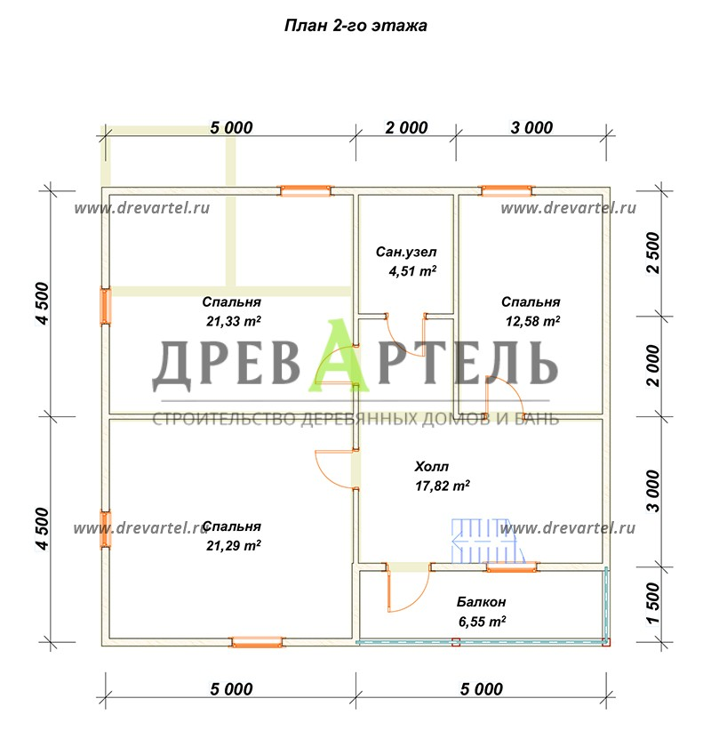 План 2-го этажа - Полутораэтажный дом из бруса 9х10