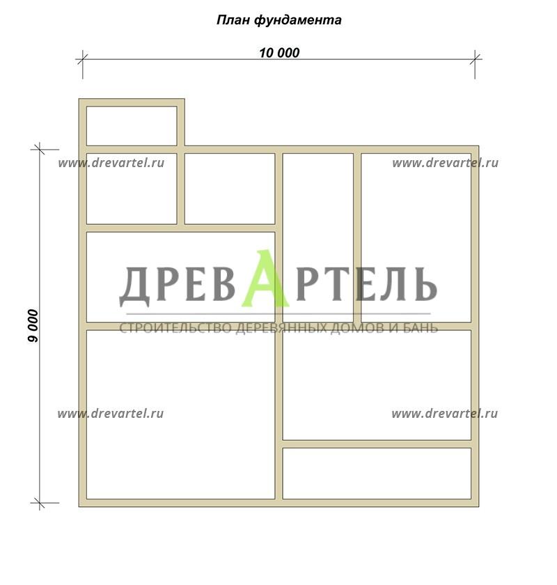 План ленточного фундамента - Полутораэтажный дом из бруса 9х10