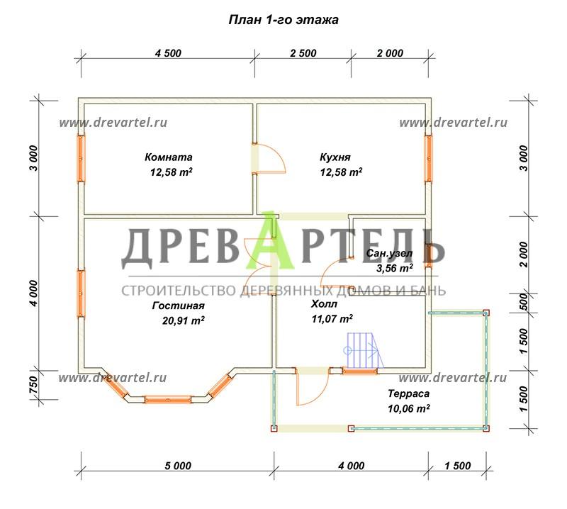План 1-го этажа - Дом из бруса 7х9 с эркером
