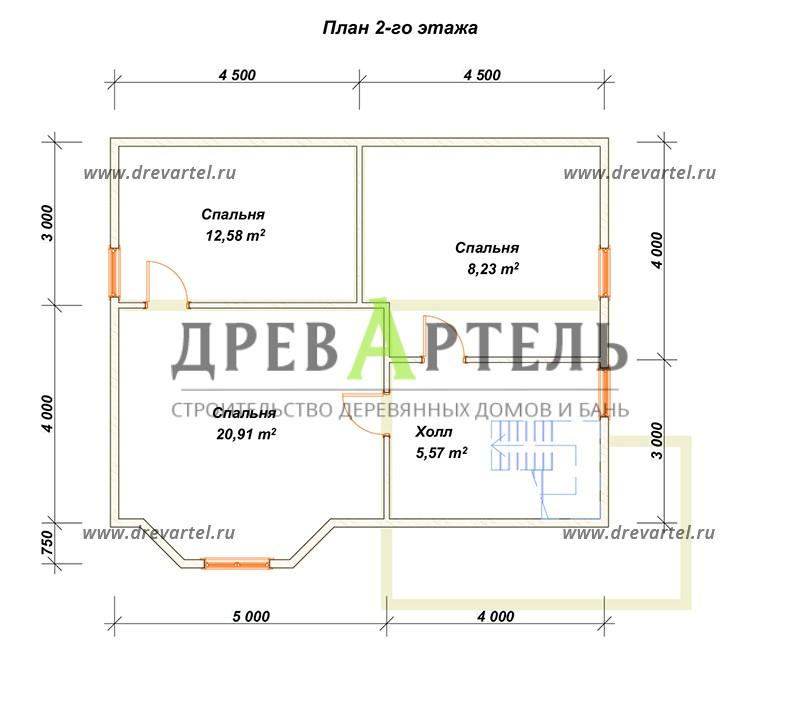 План 2-го этажа - Дом из бруса 7х9 с эркером