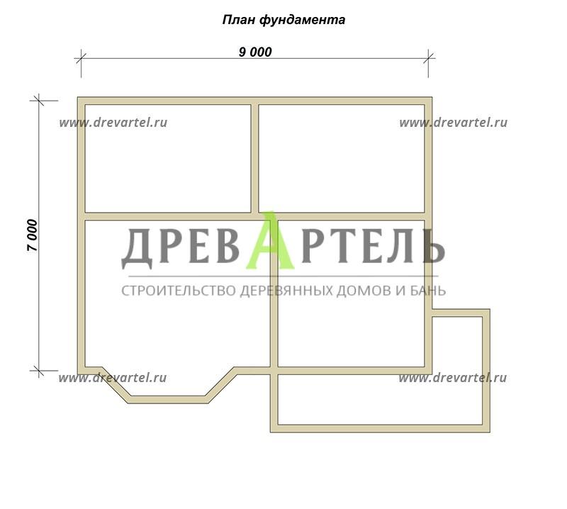 План ленточного фундамента - Дом из бруса 7х9 с эркером