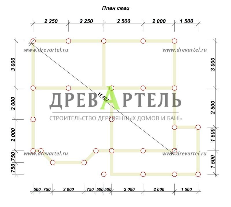 План свайного фундамента - Дом из бруса 7х9 с эркером