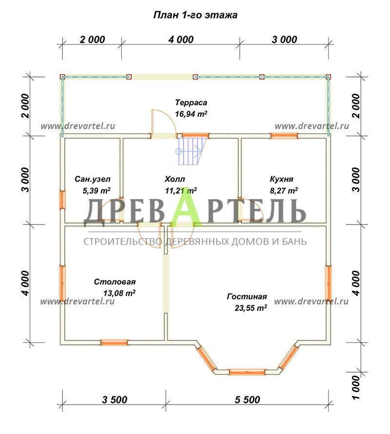 План 1-го этажа - Дом из бруса 9х10 с мансардой