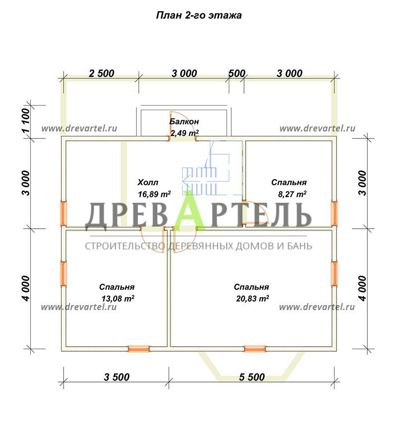 План 2-го этажа - Дом из бруса 9х10 с мансардой