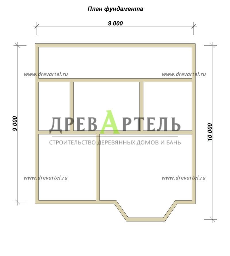 План ленточного фундамента - Дом из бруса 9х10 с мансардой