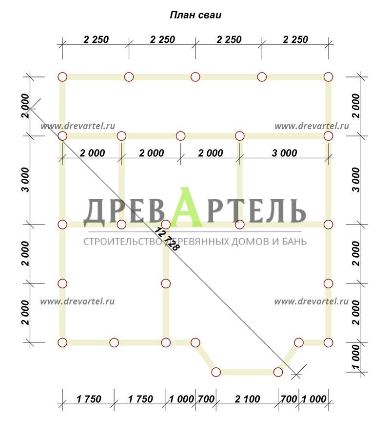 План свайного фундамента - Дом из бруса 9х10 с мансардой