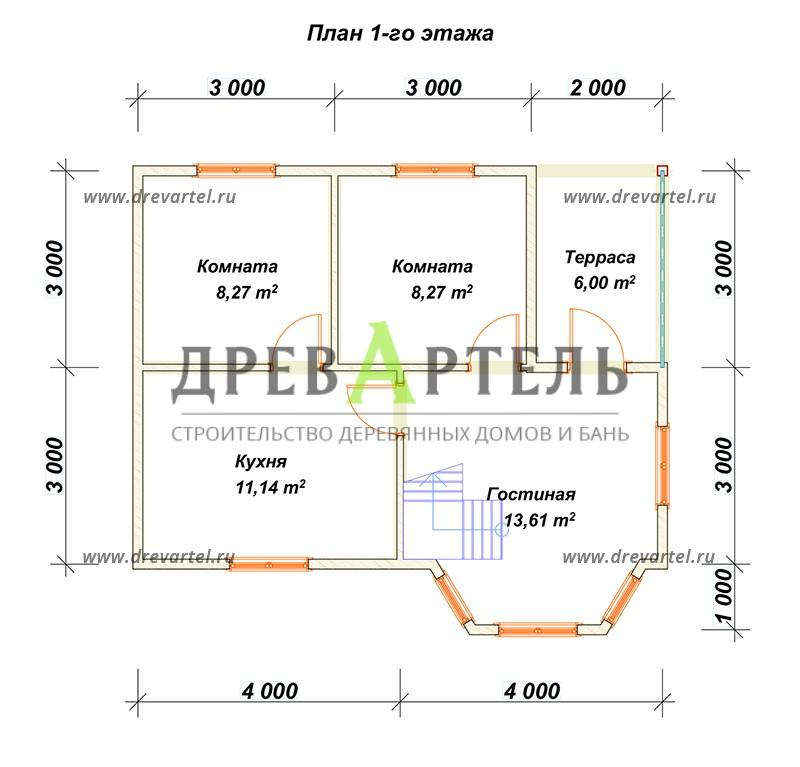 План 1-го этажа - Классический дом из бруса 6х8 с ломаной крыши
