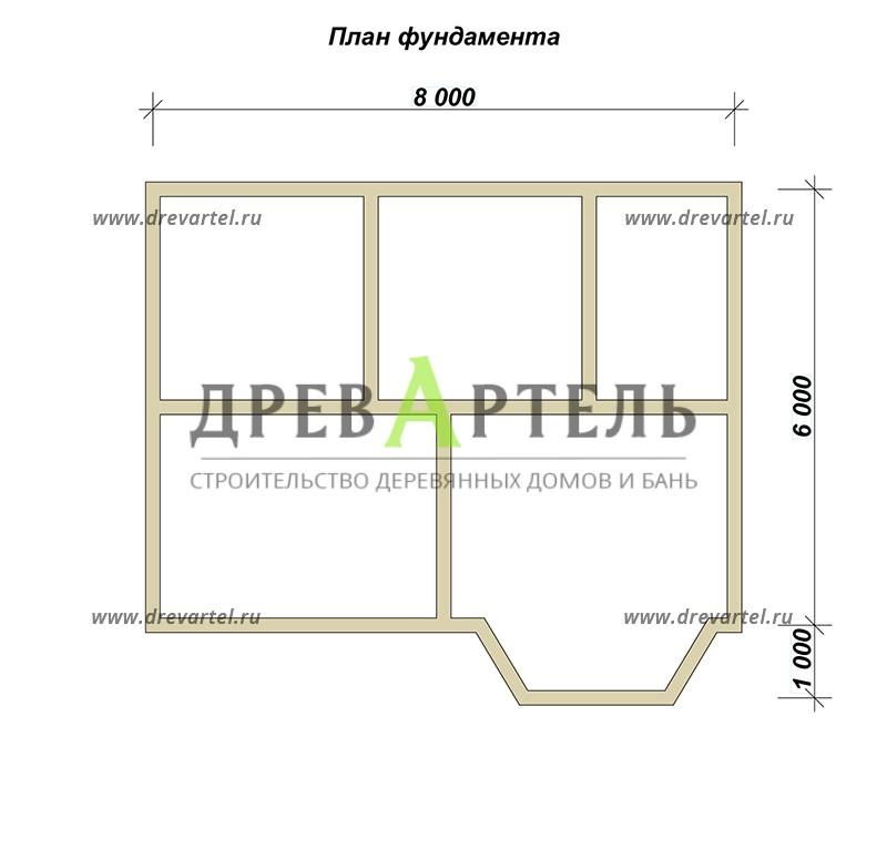 План ленточного фундамента - Классический дом из бруса 6х8 с ломаной крыши