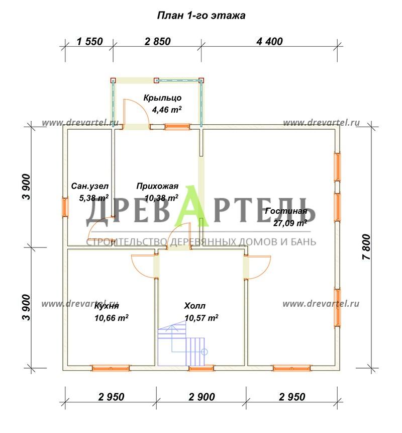 План 1-го этажа - Деревянный двухэтажный дом из бруса 8х9