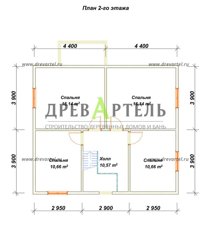 План 2-го этажа - Деревянный двухэтажный дом из бруса 8х9