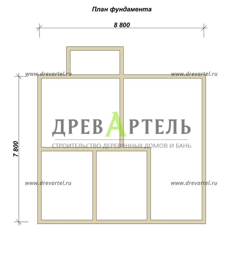 План ленточного фундамента - Деревянный двухэтажный дом из бруса 8х9