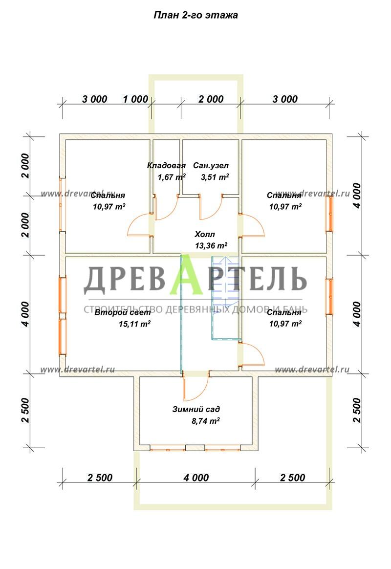 План 2-го этажа - Загородный дом 9х10 с террасой