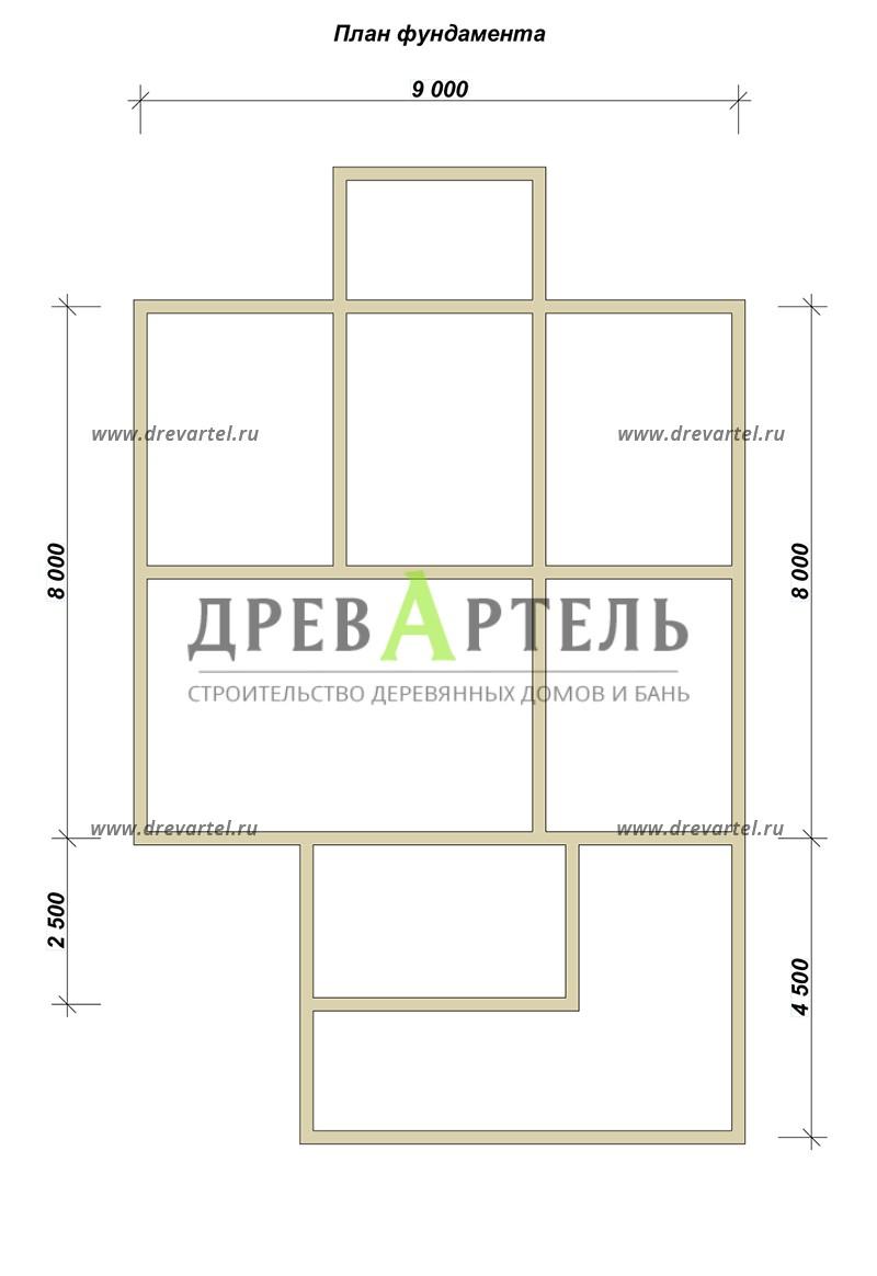 План ленточного фундамента - Загородный дом 9х10 с террасой