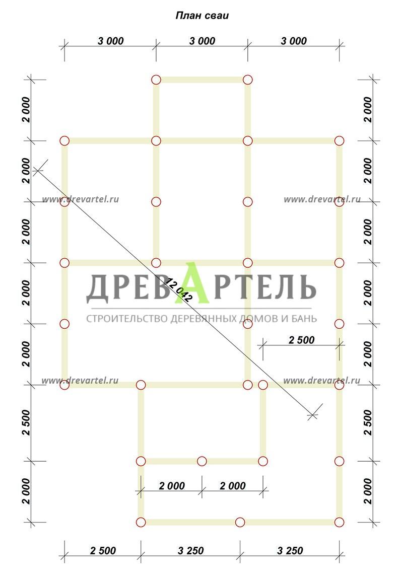 План свайного фундамента - Загородный дом 9х10 с террасой