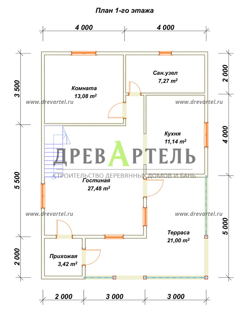 План 1-го этажа - Дом из бруса с мансардой 8х11